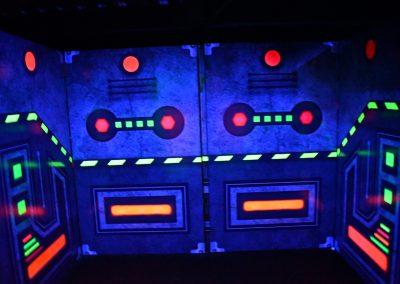 Arena con colores neon